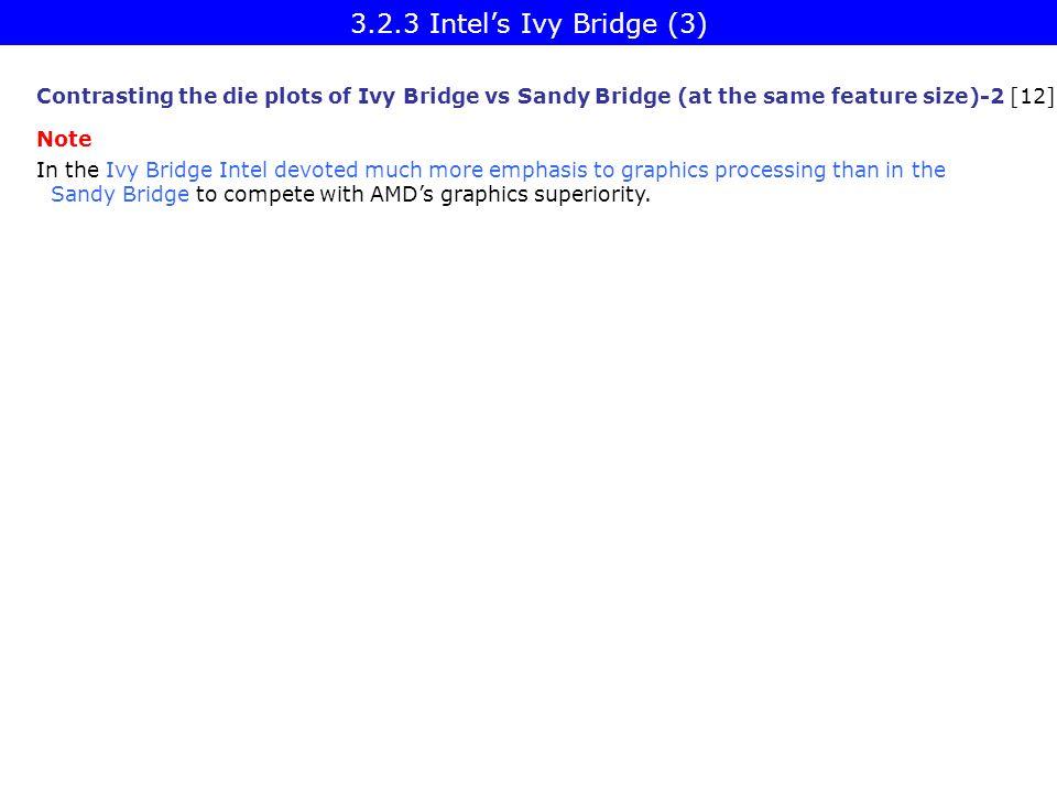 3.2.3 Intel's Ivy Bridge (3) Contrasting the die plots of Ivy Bridge vs Sandy Bridge (at the same feature size)-2 [12]